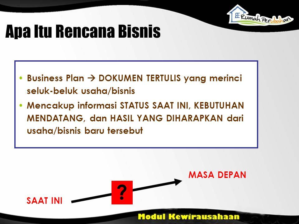 Apa Itu Rencana Bisnis Business Plan  DOKUMEN TERTULIS yang merinci seluk-beluk usaha/bisnis.