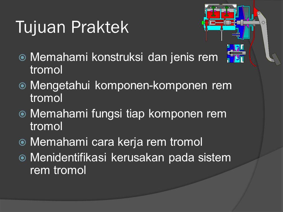 Tujuan Praktek Memahami konstruksi dan jenis rem tromol