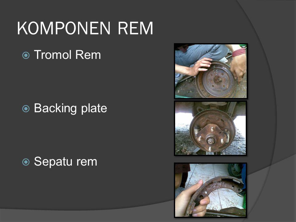 KOMPONEN REM Tromol Rem Backing plate Sepatu rem