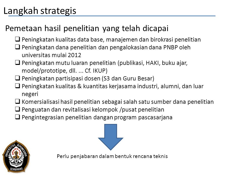 Perlu penjabaran dalam bentuk rencana teknis