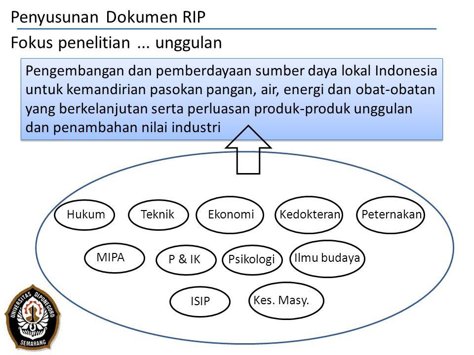 Penyusunan Dokumen RIP Fokus penelitian ... unggulan
