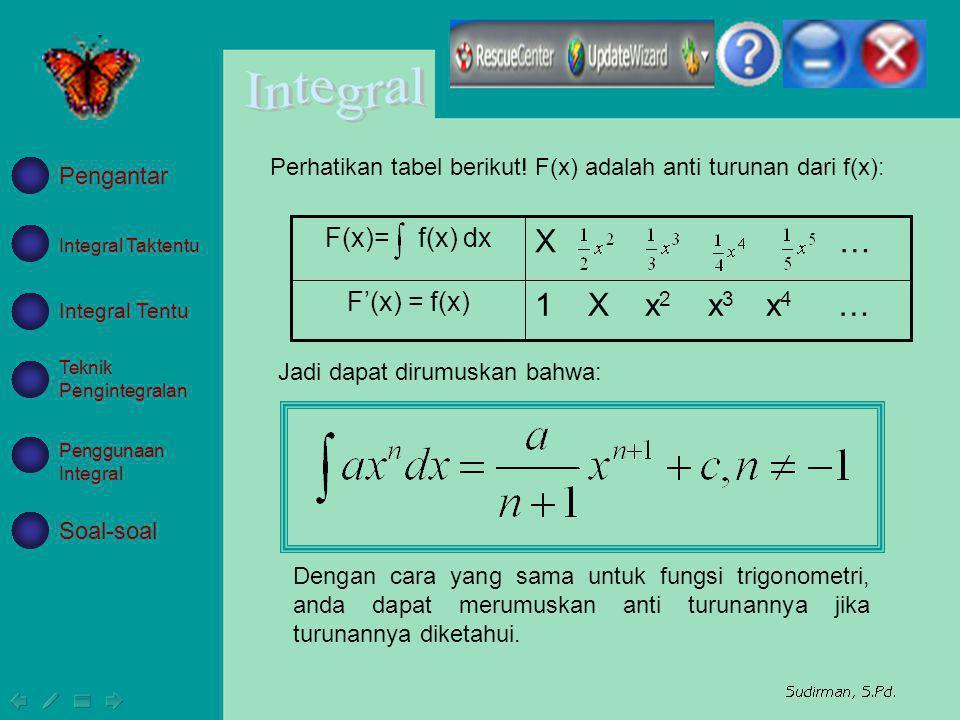 X … 1 X x2 x3 x4 … F(x)= f(x) dx F'(x) = f(x)