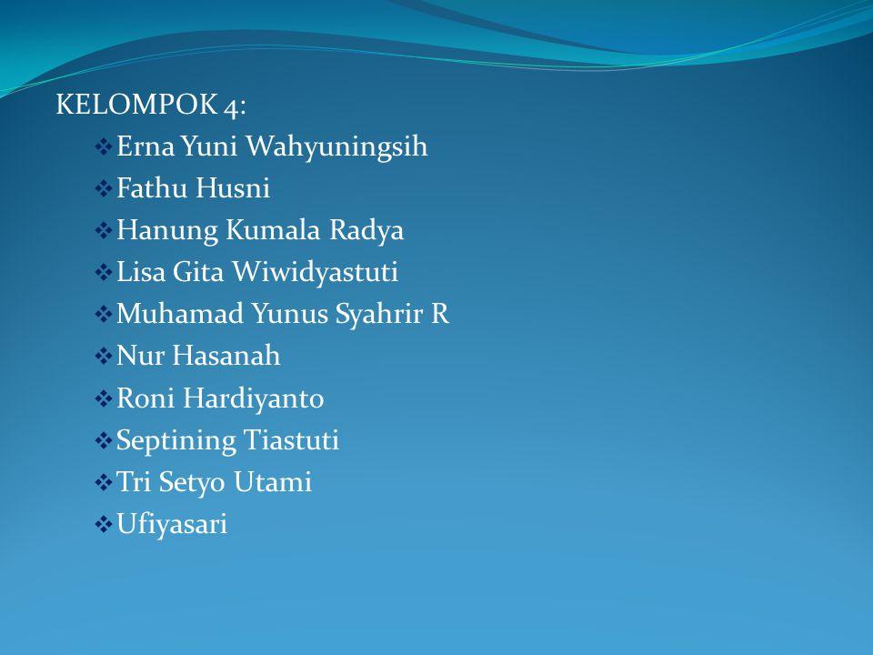 KELOMPOK 4: Erna Yuni Wahyuningsih. Fathu Husni. Hanung Kumala Radya. Lisa Gita Wiwidyastuti. Muhamad Yunus Syahrir R.