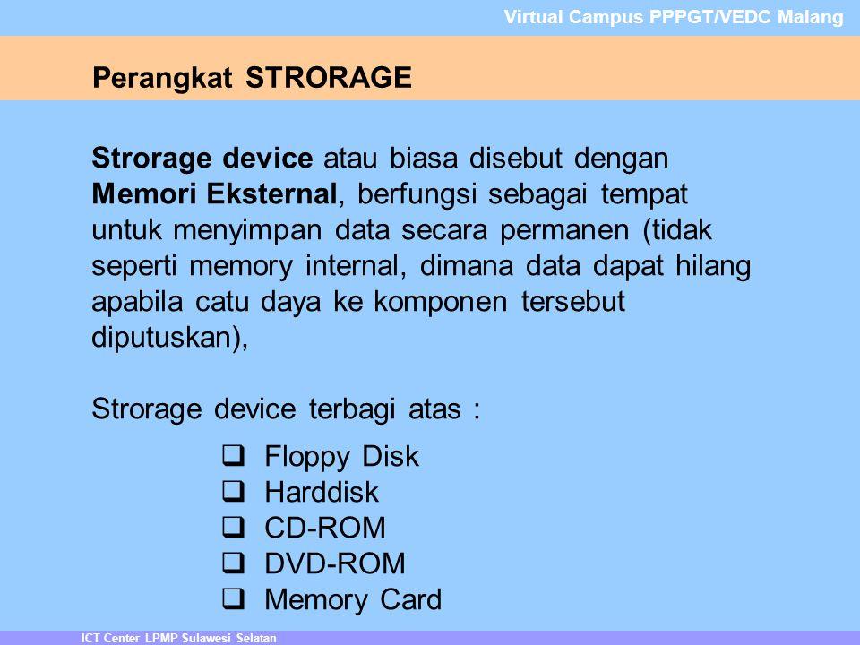 Strorage device terbagi atas : Floppy Disk Harddisk CD-ROM DVD-ROM
