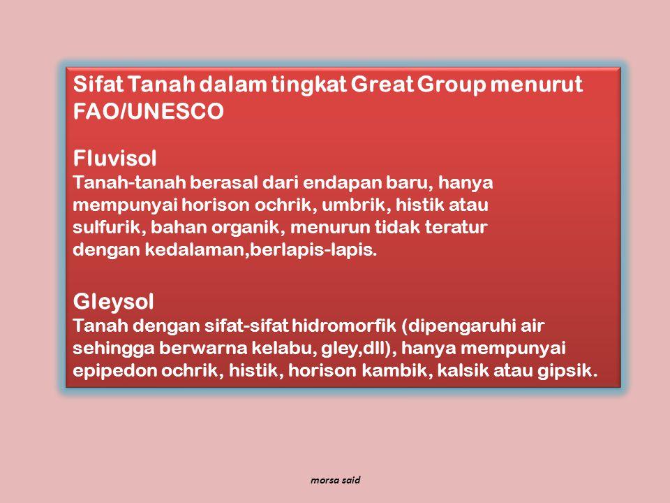 Sifat Tanah dalam tingkat Great Group menurut FAO/UNESCO