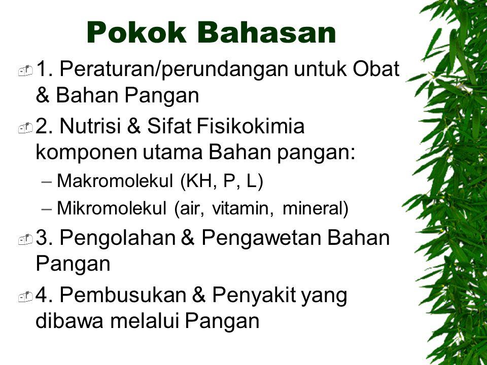 Pokok Bahasan 1. Peraturan/perundangan untuk Obat & Bahan Pangan