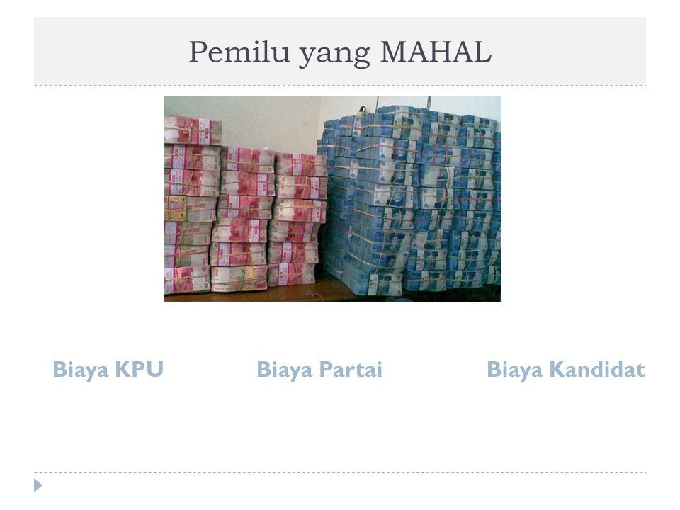 Pemilu yang MAHAL Biaya KPU Biaya Partai Biaya Kandidat