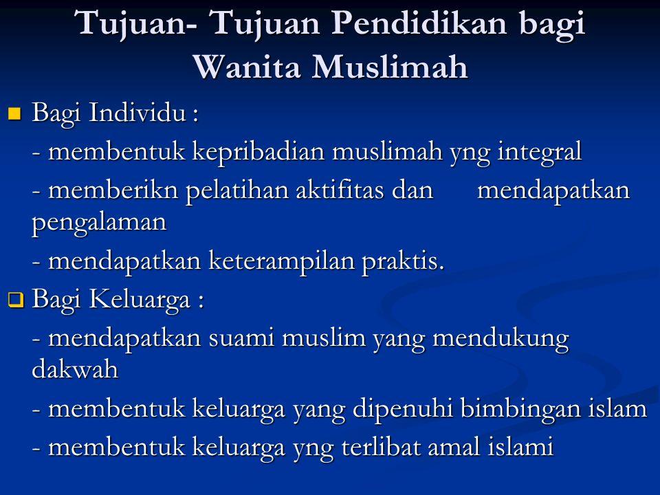Tujuan- Tujuan Pendidikan bagi Wanita Muslimah