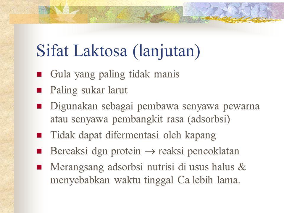 Sifat Laktosa (lanjutan)