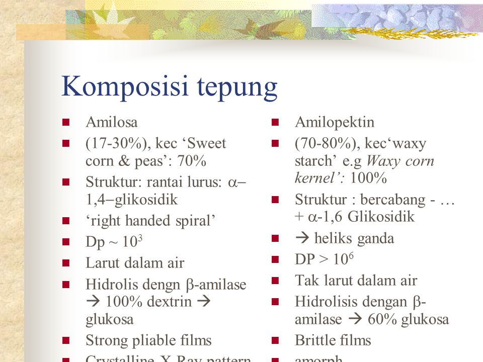 Komposisi tepung Amilosa (17-30%), kec 'Sweet corn & peas': 70%
