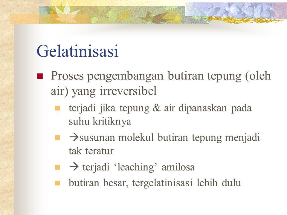 Gelatinisasi Proses pengembangan butiran tepung (oleh air) yang irreversibel. terjadi jika tepung & air dipanaskan pada suhu kritiknya.