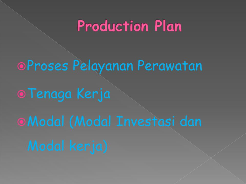 Production Plan Proses Pelayanan Perawatan Tenaga Kerja