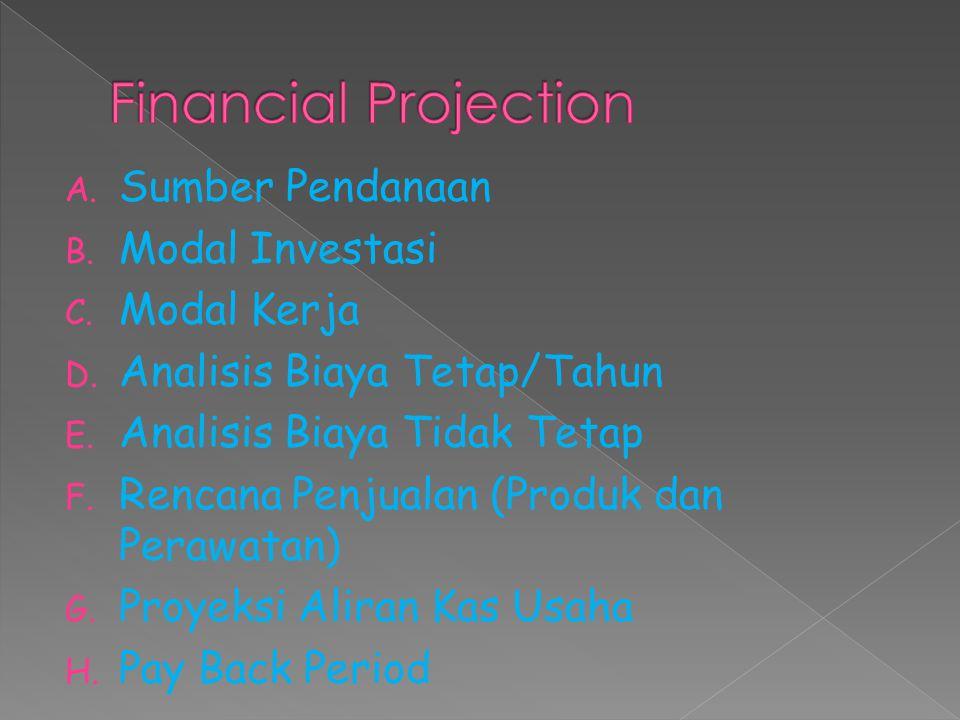 Financial Projection Sumber Pendanaan Modal Investasi Modal Kerja