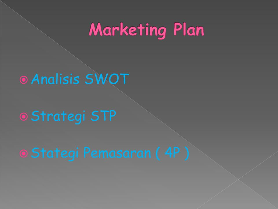 Marketing Plan Analisis SWOT Strategi STP Stategi Pemasaran ( 4P )