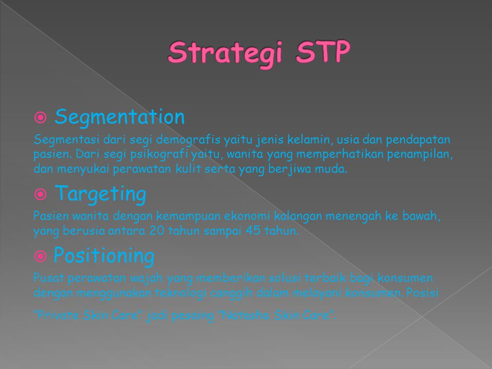 Strategi STP Segmentation Targeting Positioning
