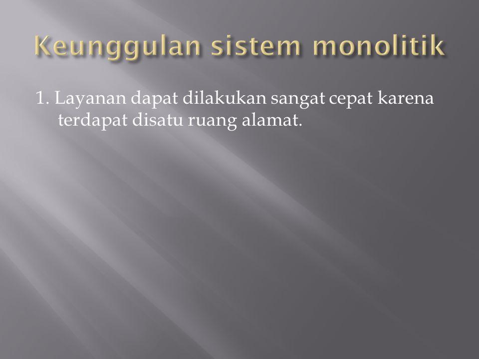 Keunggulan sistem monolitik