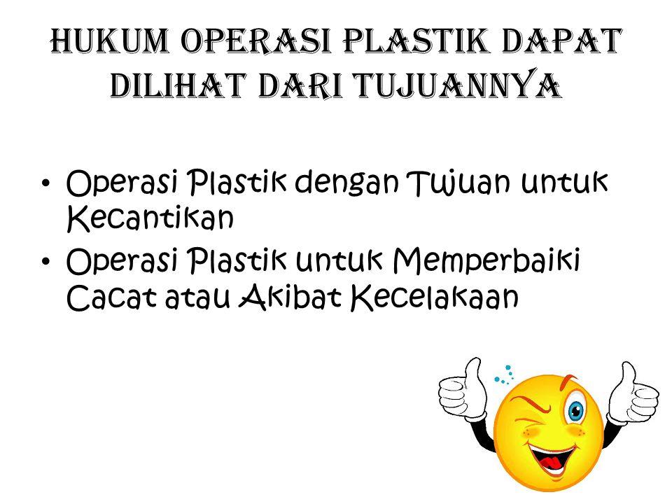 Hukum operasi plastik dapat dilihat dari tujuannya