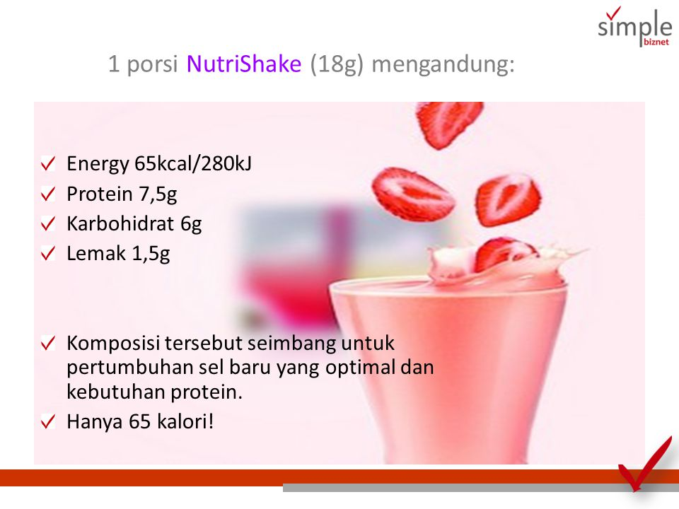 1 porsi NutriShake (18g) mengandung: