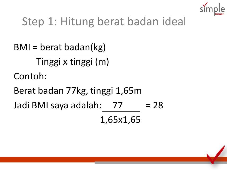 Step 1: Hitung berat badan ideal