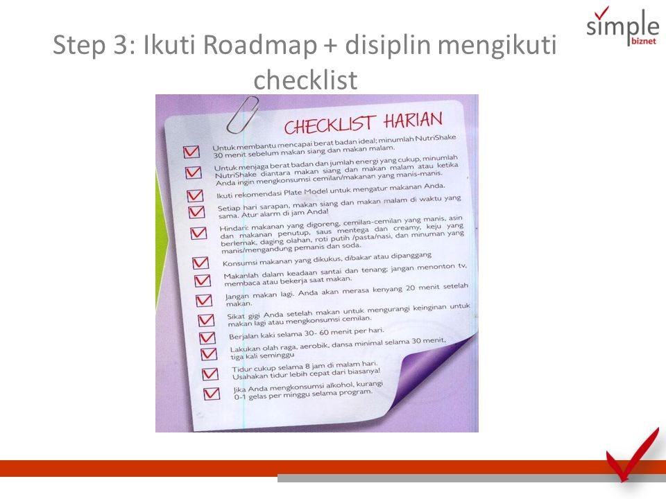 Step 3: Ikuti Roadmap + disiplin mengikuti checklist