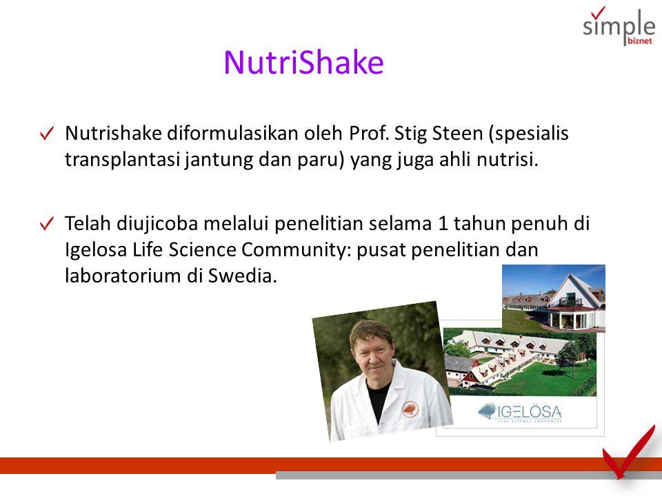 NutriShake Nutrishake diformulasikan oleh Prof. Stig Steen (spesialis transplantasi jantung dan paru) yang juga ahli nutrisi.