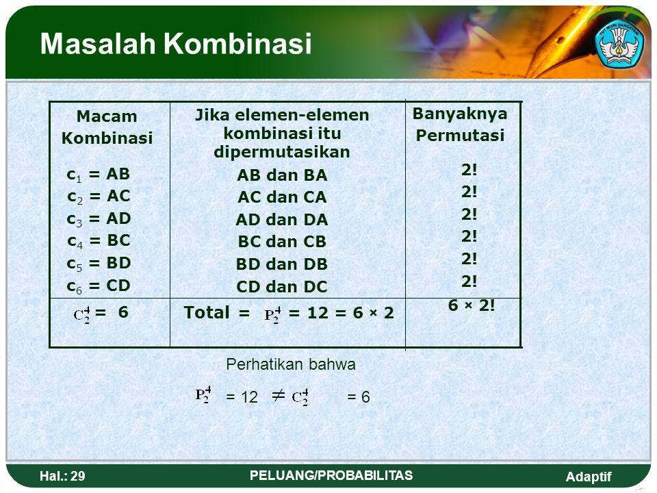 Jika elemen-elemen kombinasi itu dipermutasikan