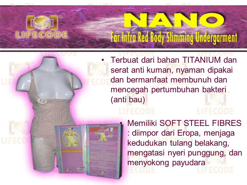 Terbuat dari bahan TITANIUM dan serat anti kuman, nyaman dipakai dan bermanfaat membunuh dan mencegah pertumbuhan bakteri (anti bau)