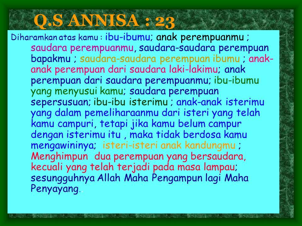 Q.S ANNISA : 23