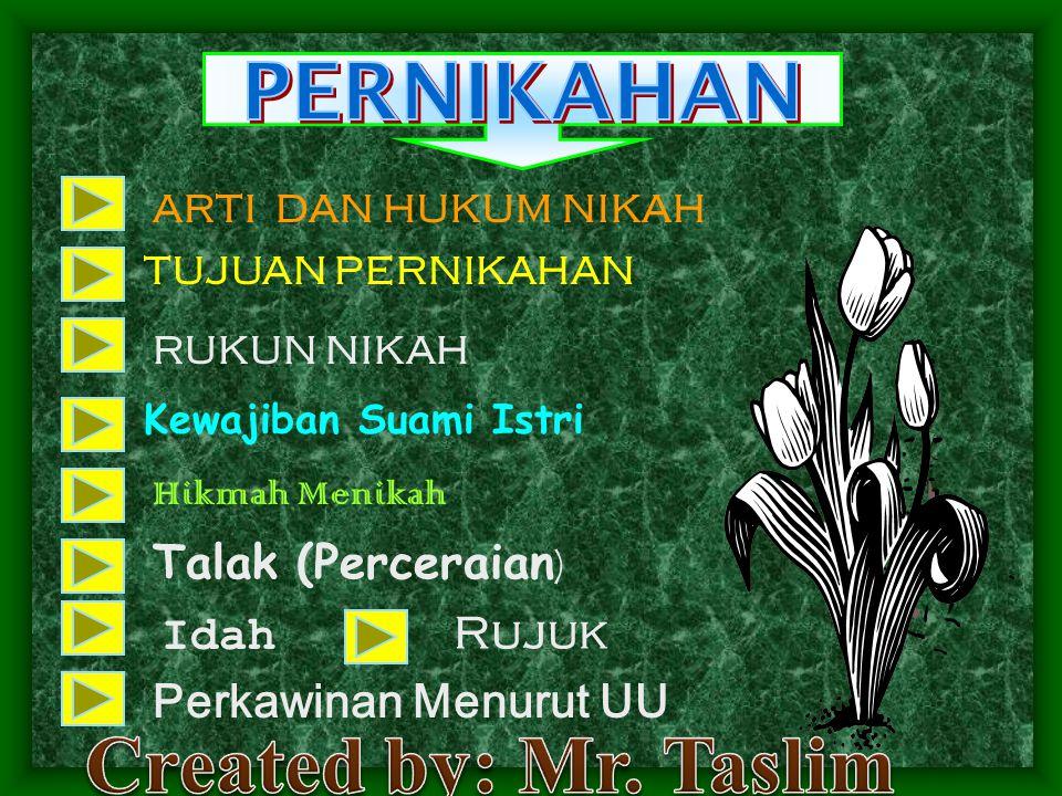 Created by: Mr. Taslim PERNIKAHAN Talak (Perceraian) Idah Rujuk
