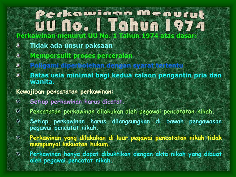 Perkawinan Menurut UU No. 1 Tahun 1974