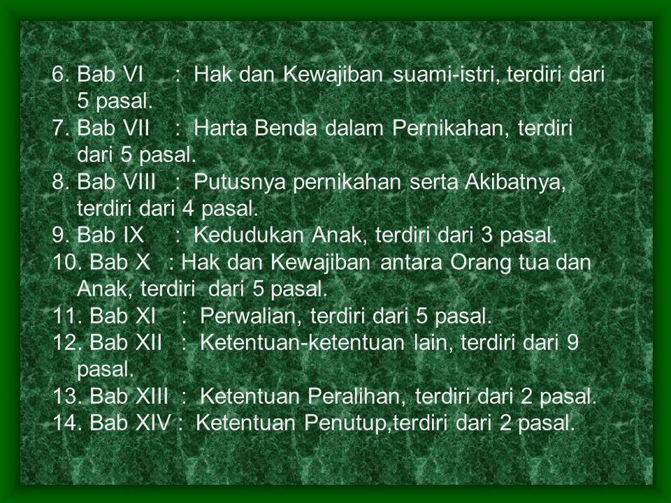 Bab VI : Hak dan Kewajiban suami-istri, terdiri dari 5 pasal.