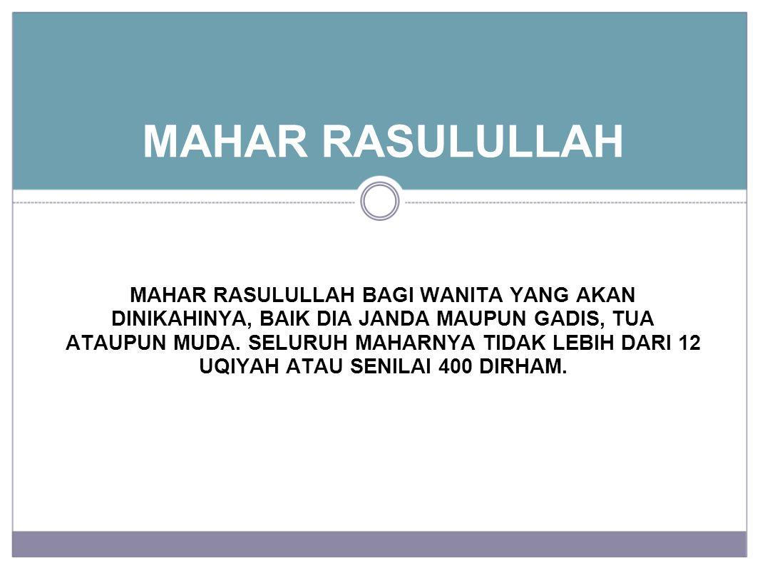 MAHAR RASULULLAH