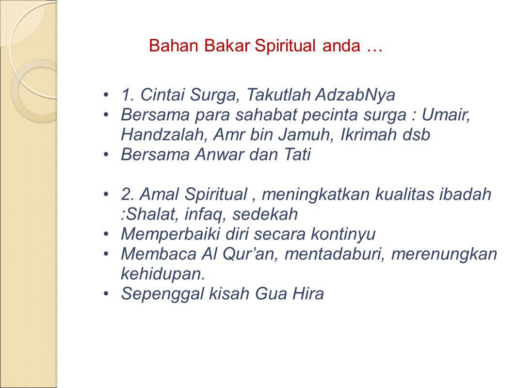 Bahan Bakar Spiritual anda …