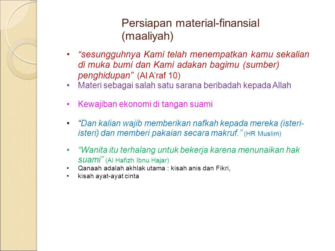 Persiapan material-finansial (maaliyah)