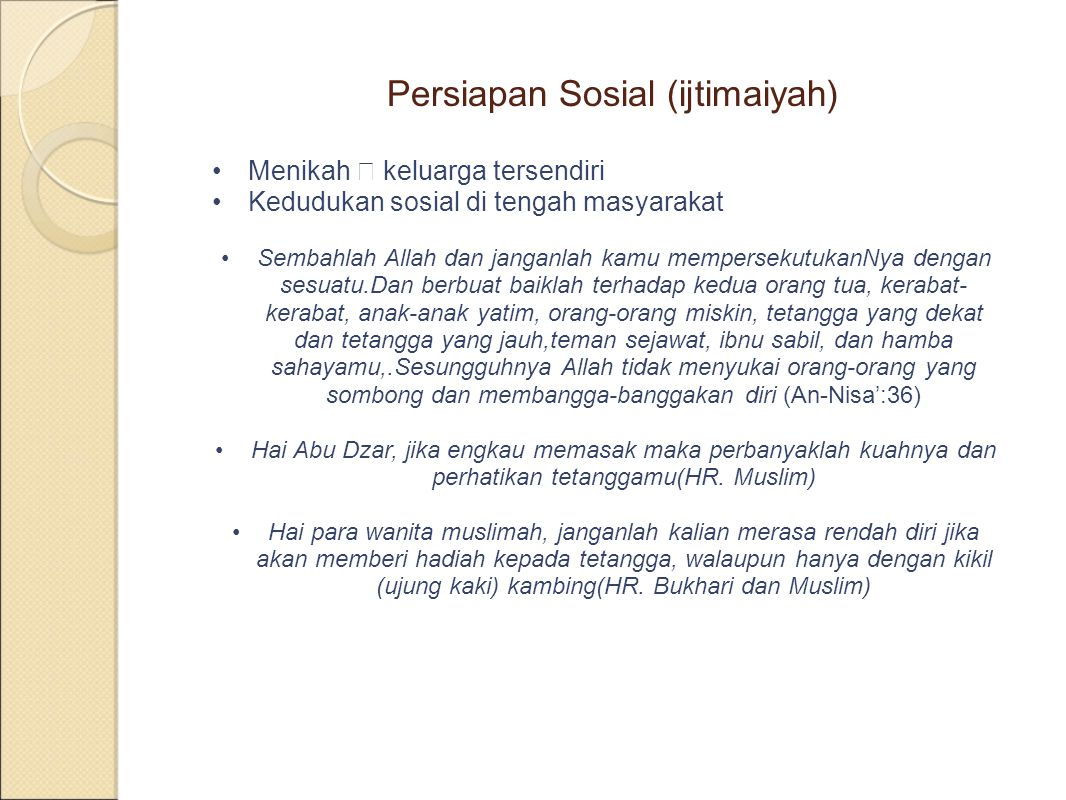 Persiapan Sosial (ijtimaiyah)