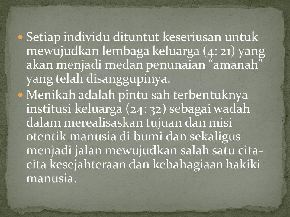 Setiap individu dituntut keseriusan untuk mewujudkan lembaga keluarga (4: 21) yang akan menjadi medan penunaian amanah yang telah disanggupinya.