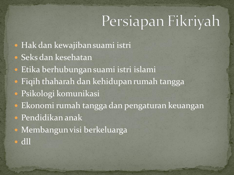 Persiapan Fikriyah Hak dan kewajiban suami istri Seks dan kesehatan