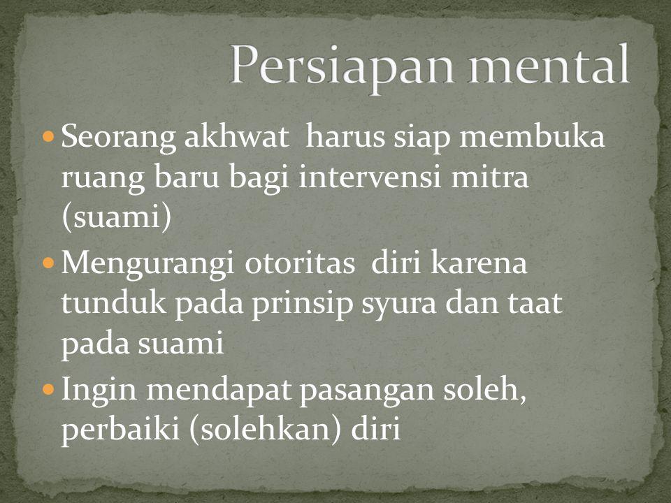 Persiapan mental Seorang akhwat harus siap membuka ruang baru bagi intervensi mitra (suami)