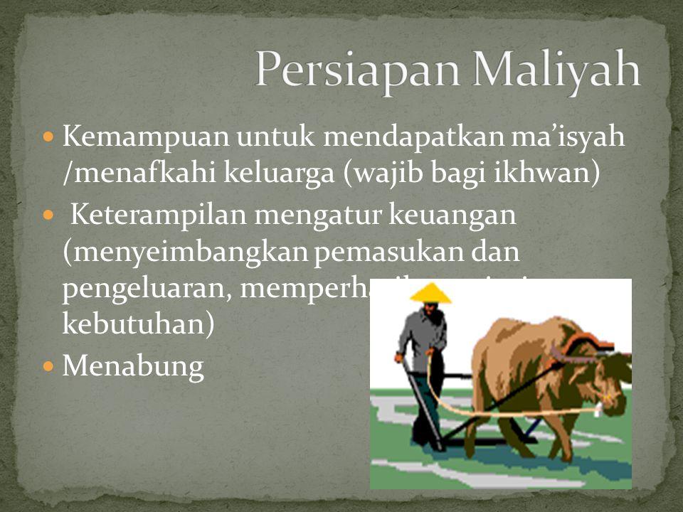 Persiapan Maliyah Kemampuan untuk mendapatkan ma'isyah /menafkahi keluarga (wajib bagi ikhwan)