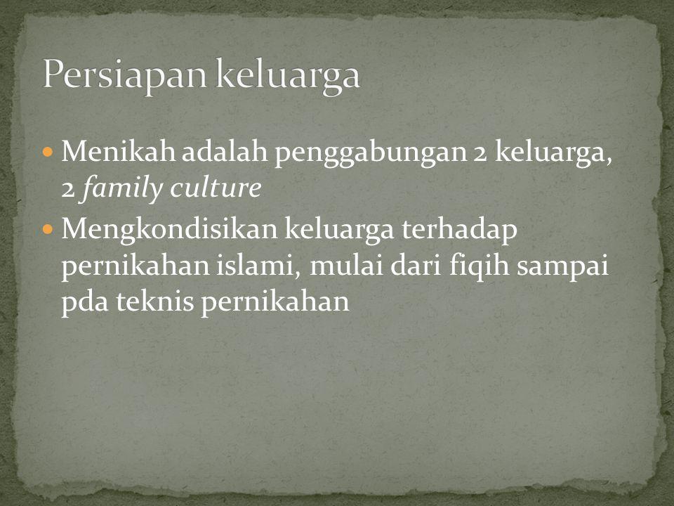 Persiapan keluarga Menikah adalah penggabungan 2 keluarga, 2 family culture.
