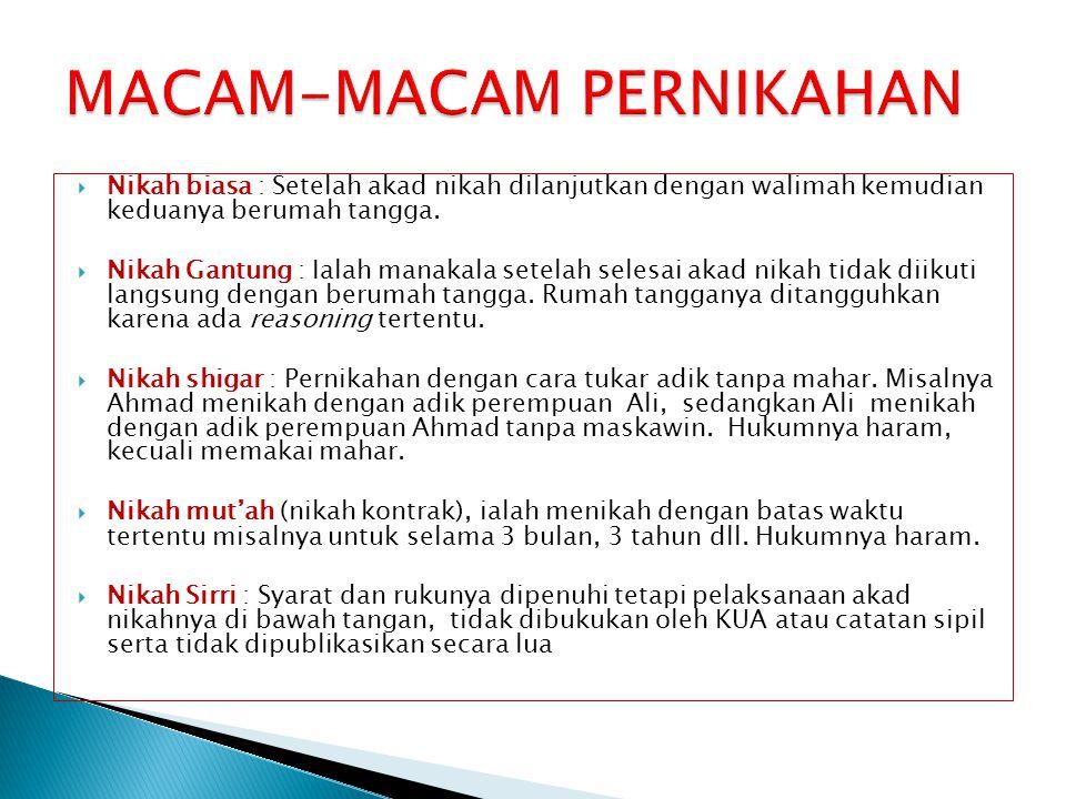 MACAM-MACAM PERNIKAHAN