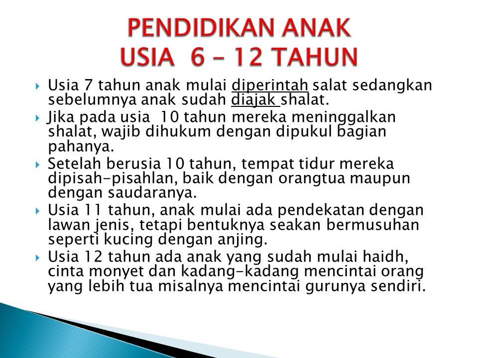 PENDIDIKAN ANAK USIA 6 – 12 TAHUN