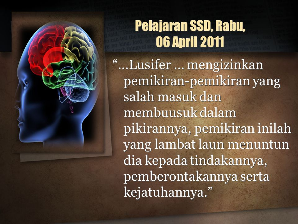 Pelajaran SSD, Rabu, 06 April 2011