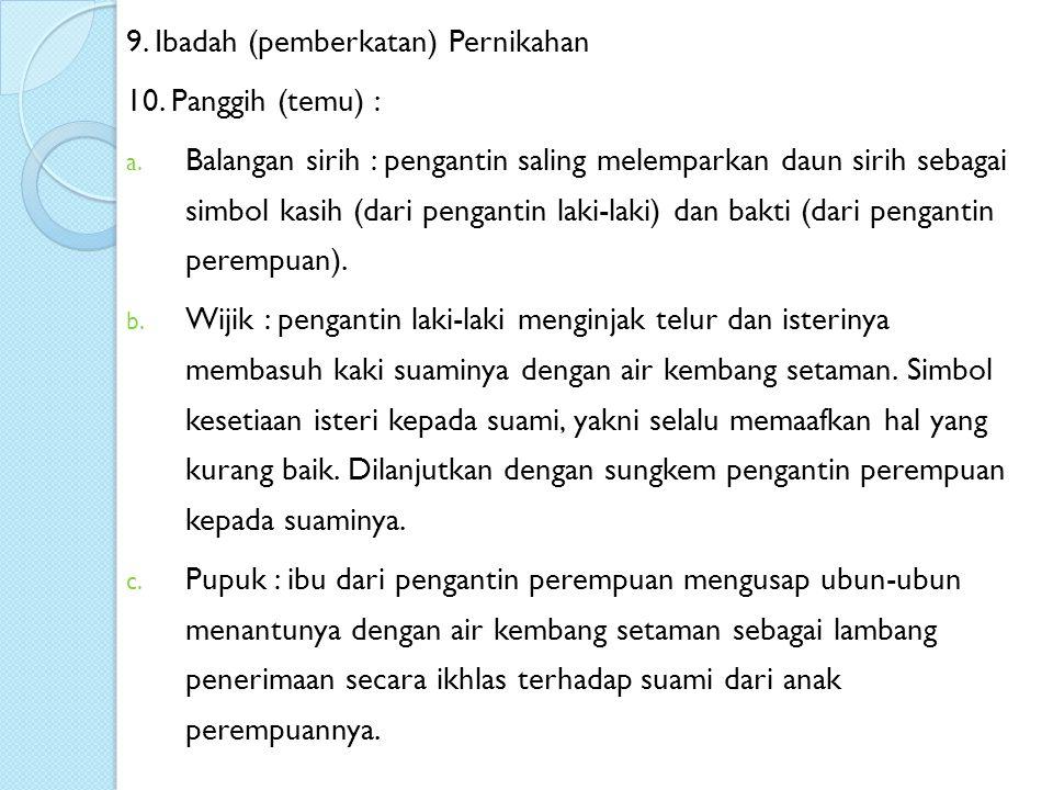 9. Ibadah (pemberkatan) Pernikahan