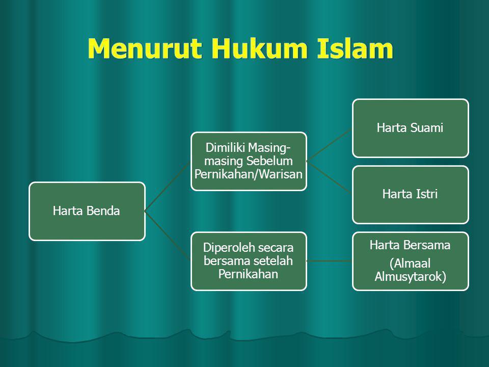 Menurut Hukum Islam Harta Benda
