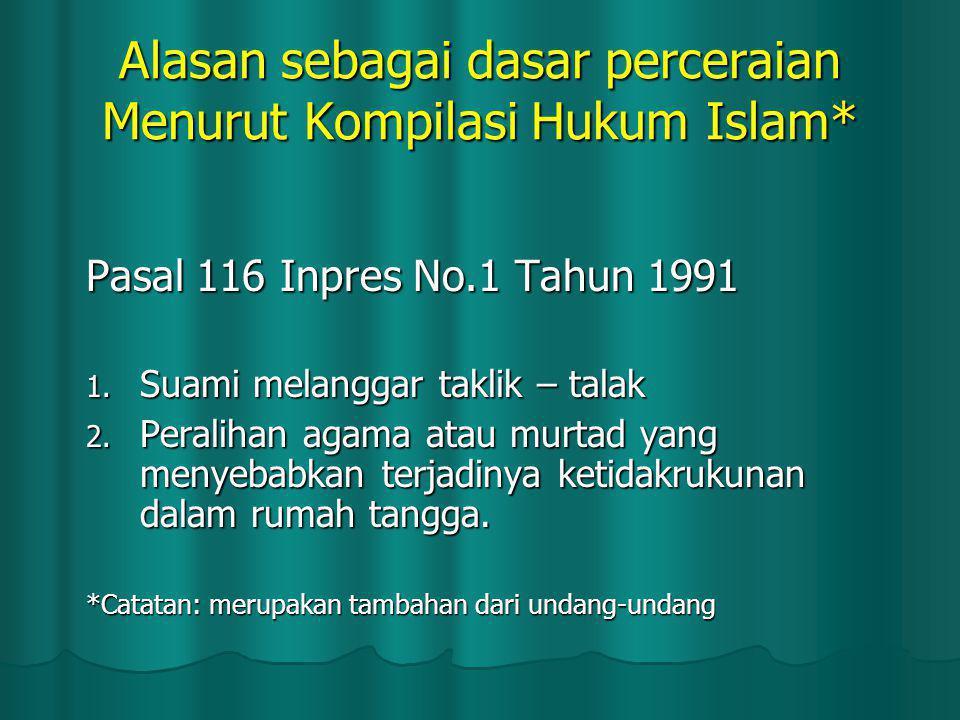 Alasan sebagai dasar perceraian Menurut Kompilasi Hukum Islam*