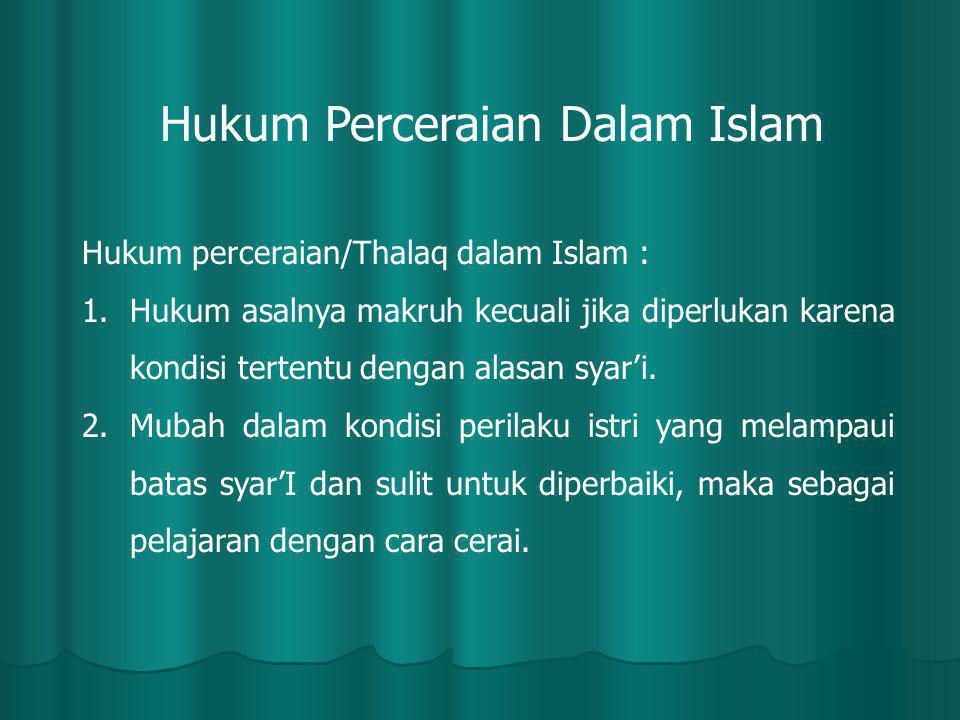 Hukum Perceraian Dalam Islam