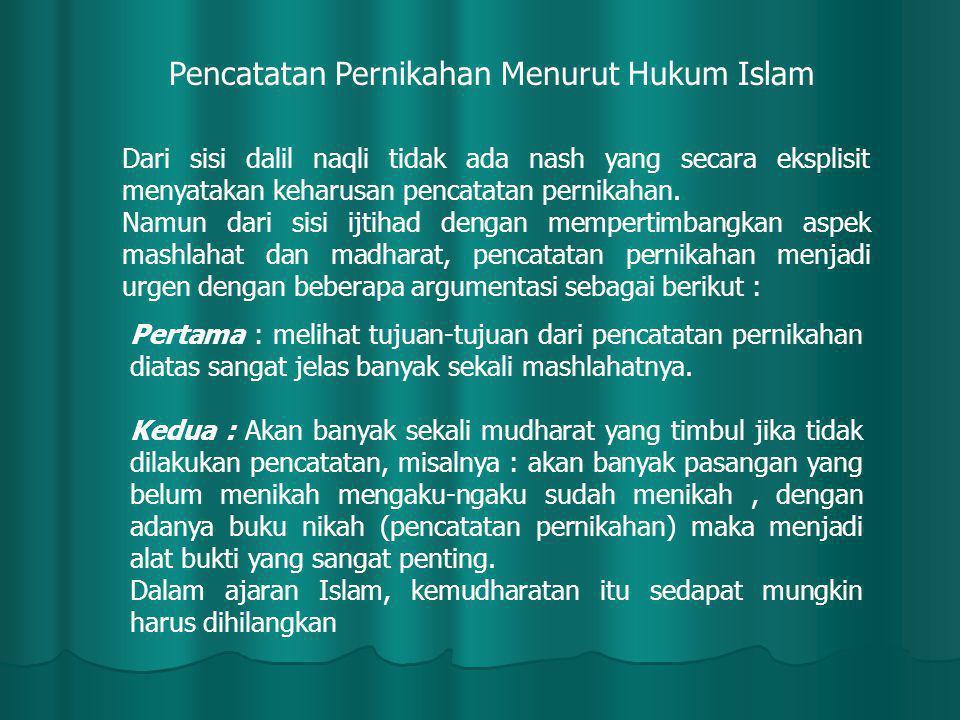 Pencatatan Pernikahan Menurut Hukum Islam