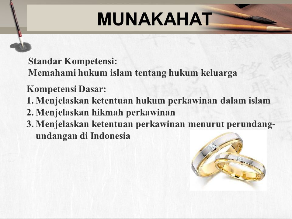 MUNAKAHAT Standar Kompetensi: