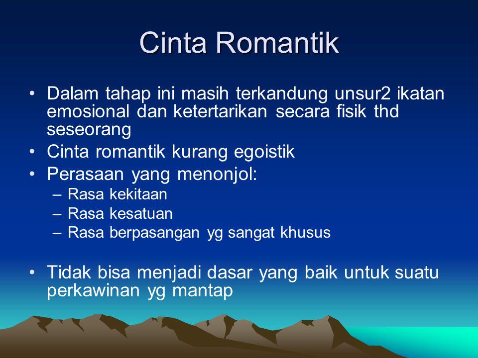 Cinta Romantik Dalam tahap ini masih terkandung unsur2 ikatan emosional dan ketertarikan secara fisik thd seseorang.